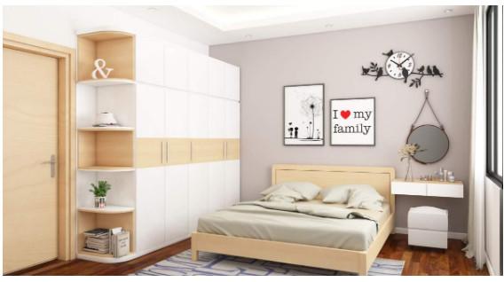 Gian phòng ngủ bình yên, thoải mái được tạo bởi những gam màu tương đồng.