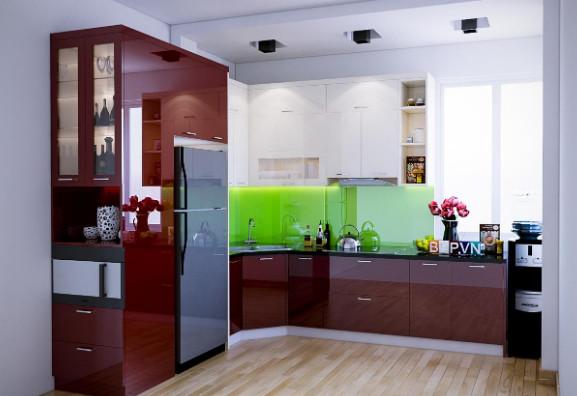 Gian phòng bếp được phối màu nội thất bằng gam màu nóng ấm cúng.