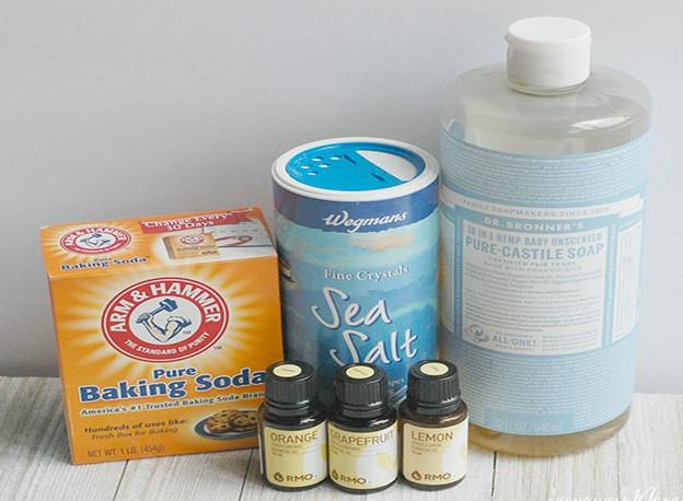 Cách điều chế nước vệ sinh nhà bếp từ banking soda, xà phòng, nước ấm và tinh dầu chanh